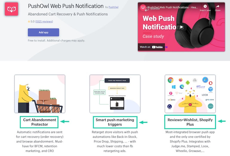App installs: Screenshot of PushOwl's landing page on the Shopify App Store with key benefits highlighted.