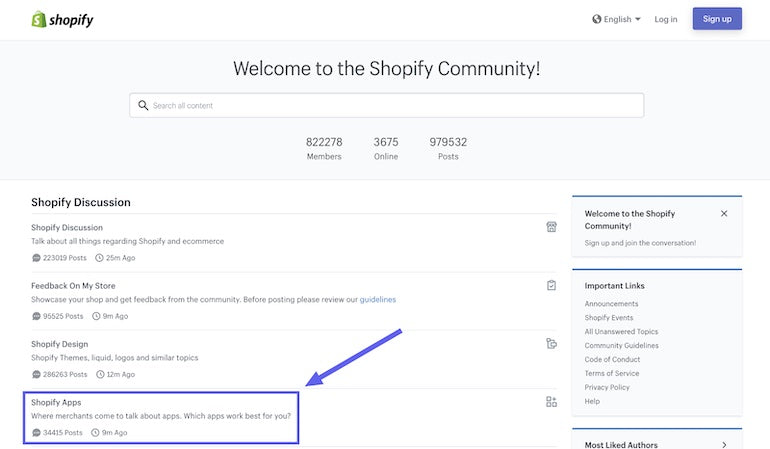 Screenshot of the Shopify Community home page with the category Shopify Apps highlighted