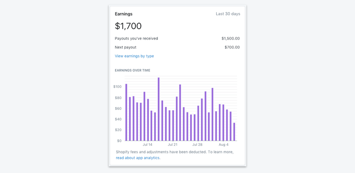 app metrics: earnings