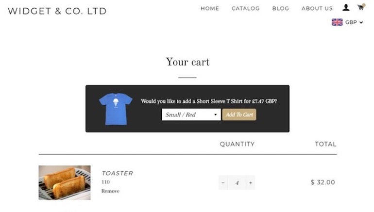 app onboarding: Screenshot of In Cart Upsell's checkout upsell pop-up, offering a discounted t-shirt to the customer to add to cart.
