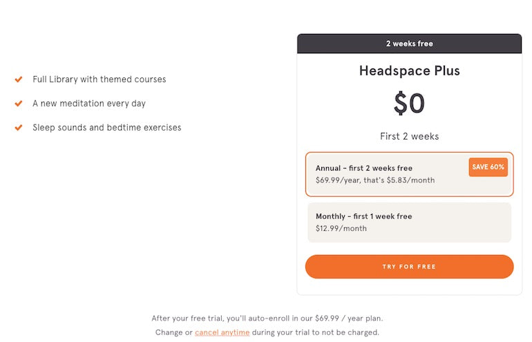 App onboarding: Screenshot of the Headspace app onboarding process, prompting users to try the service for free for two weeks before upgrading to an annual or monthly paid subscription.