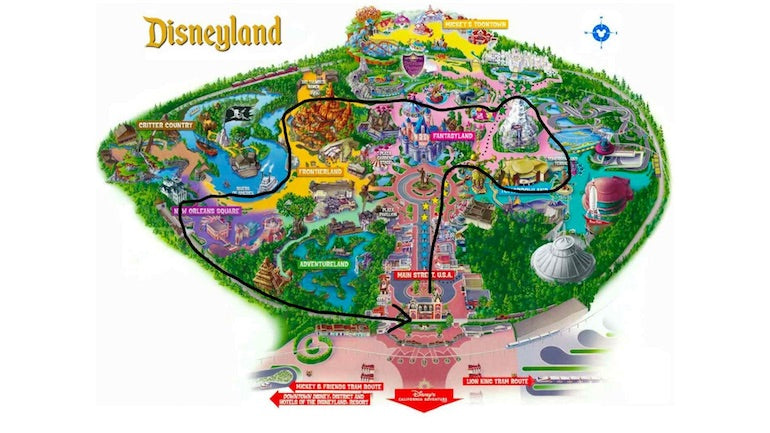App onboarding: A map of Disneyland showing the theoretical best route through the park.