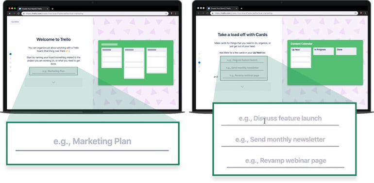 App onboarding: Two screenshots of Trello, showing that if you indicate that you are interested in Trello for marketing, the default text that Trello uses is marketing related. Cards are labelled,