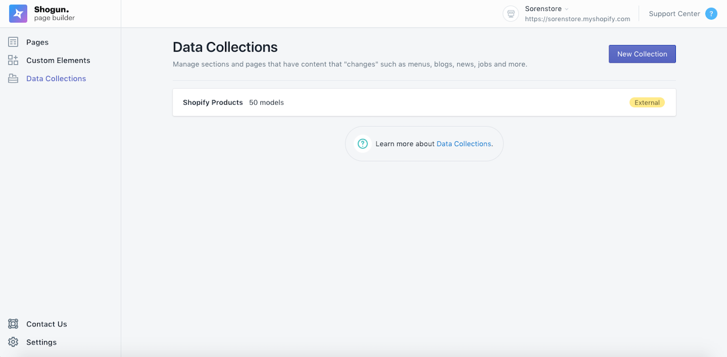 app ui: data collections