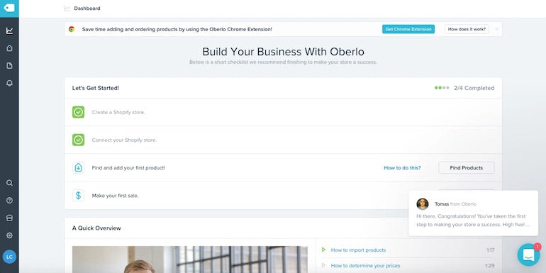 app user retention: Screenshot of Oberlo's landing page. Clean, modern look with the main title stating