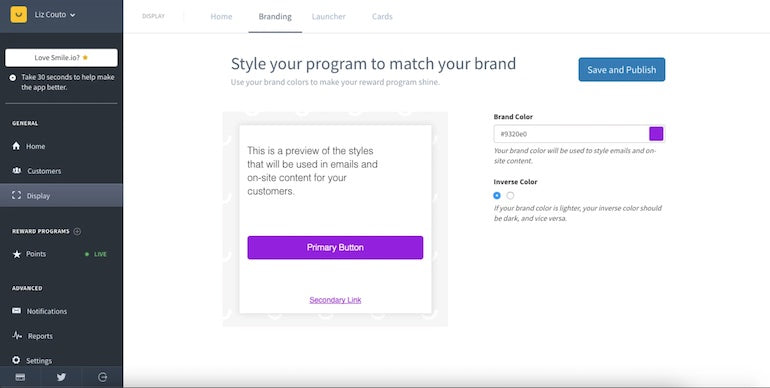 app user retention: Smile.io's main dashboard after completion depiction various options to