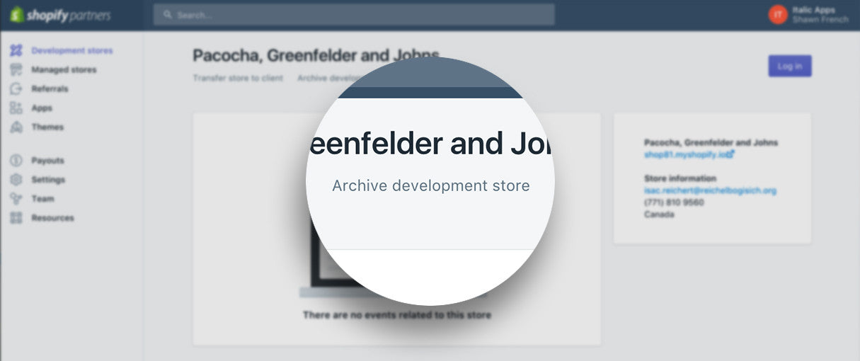 New to Your Partner Dashboard: Archiving Shopify Development Stores