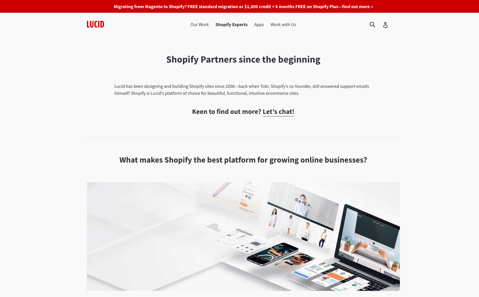 Becoming a Shopify Expert: Lucid Shopify landing page