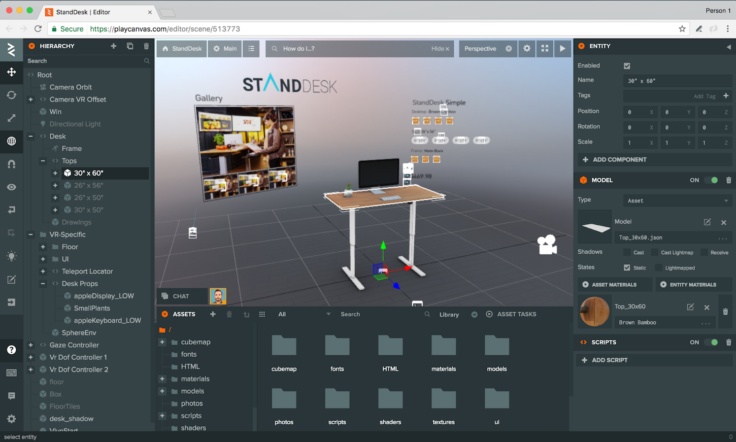 Building a VR shopping experience: PlayCanvas editor