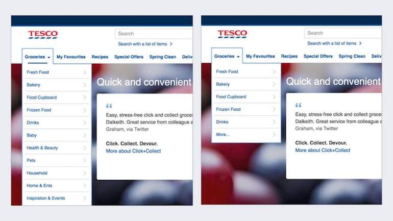 Two screenshots of the Tesco grocery website side by side showing how customers can overcome choice paralysis. The image on the left shows an expanded groceries menu with 11 options after the 'More' tab has been clicked. The image on the right shows the top 5 options with the 'More' tab unexpanded.