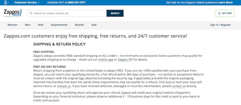 Screenshot of Zappos's robust shipping and return policy, which  reduces customers' perceived risk of making a purchase.