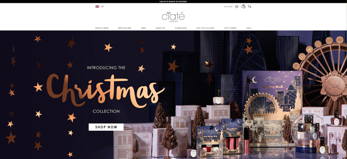 Christmas-themed ecommerce website: Ciaté London by Ego by Design