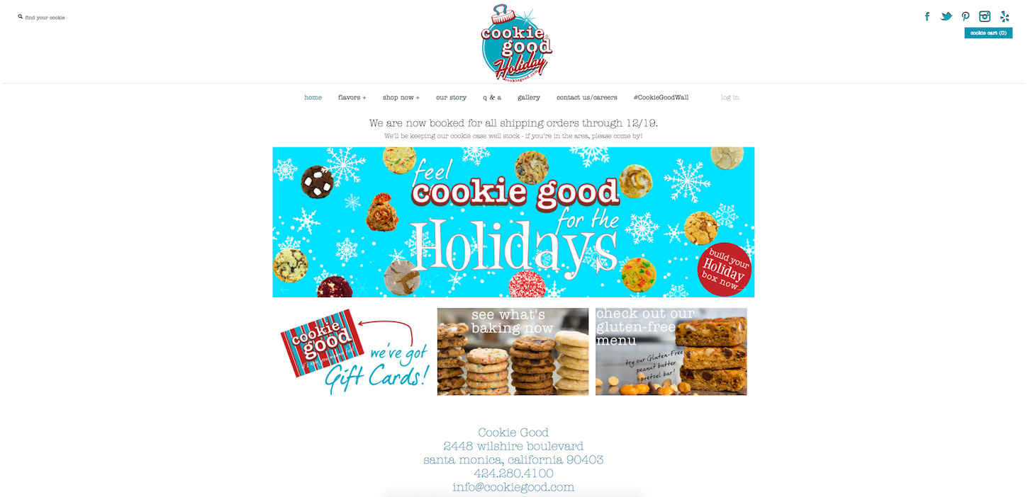 Christmas-themed ecommerce website: Cookie Good by Greta Rose