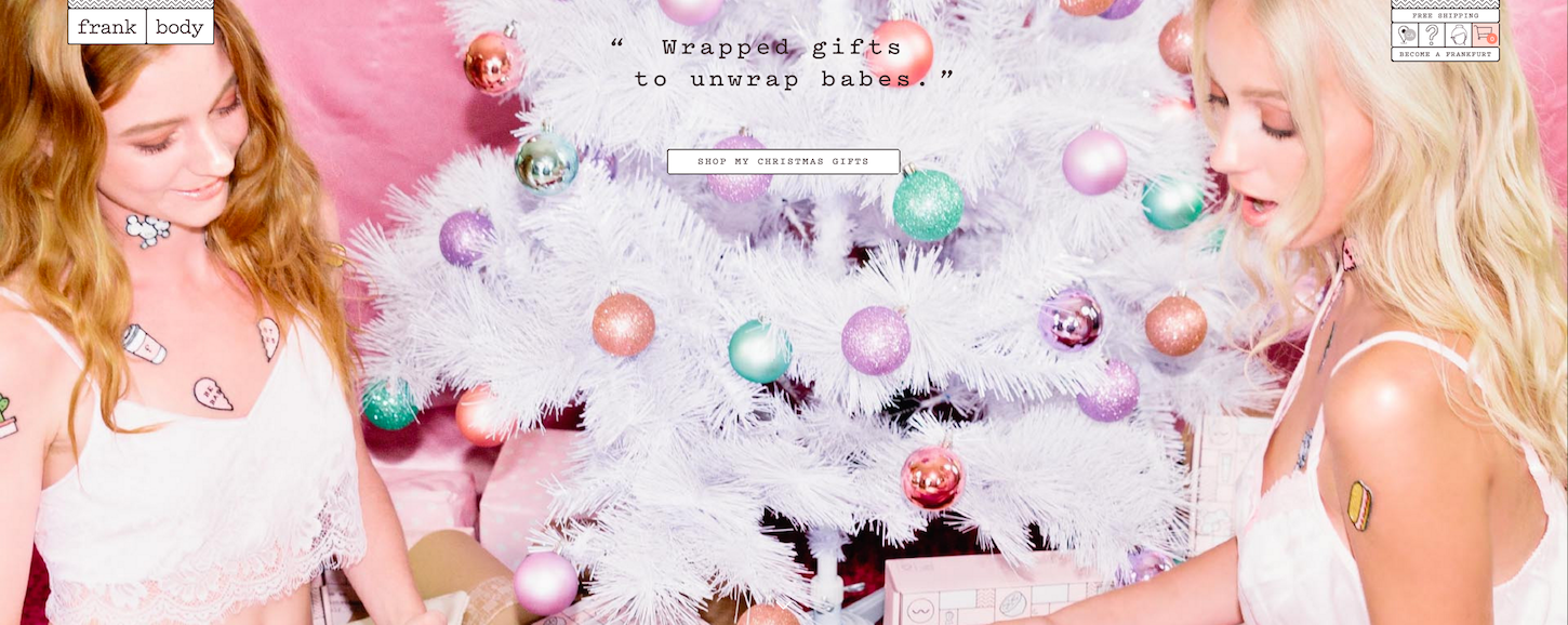 Christmas-themed ecommerce website: Frank Body Homepage by Love + Money