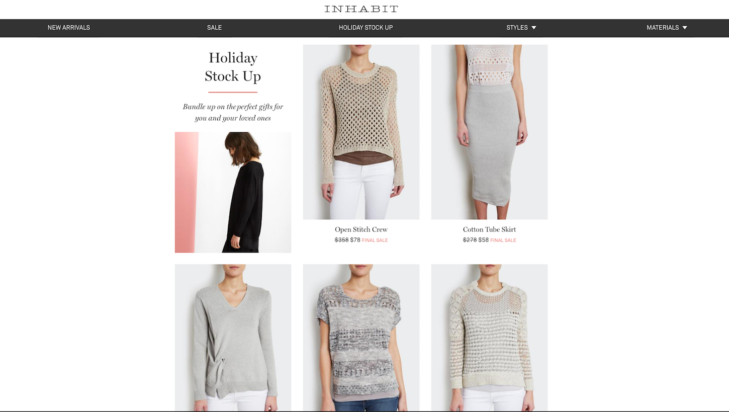 Christmas-themed ecommerce website: Inhabit by Jane Creative