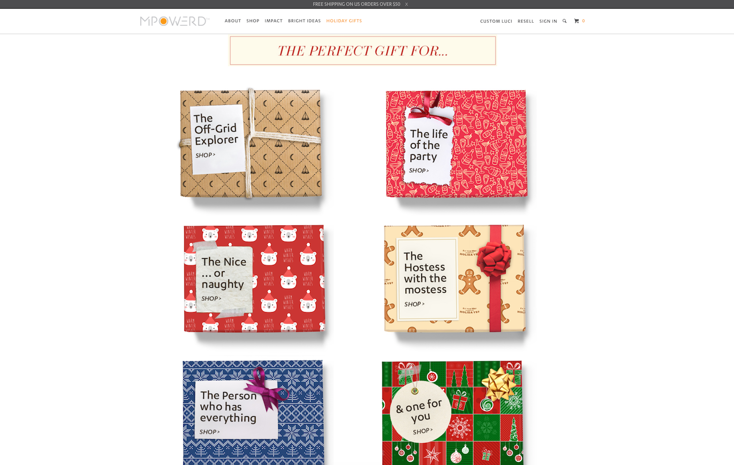 Christmas-themed ecommerce website: MPowered by Genome