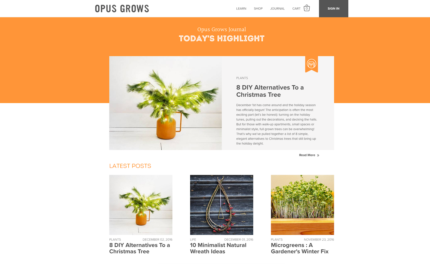 Christmas-themed ecommerce website: Opus Grows by Herman Scheer