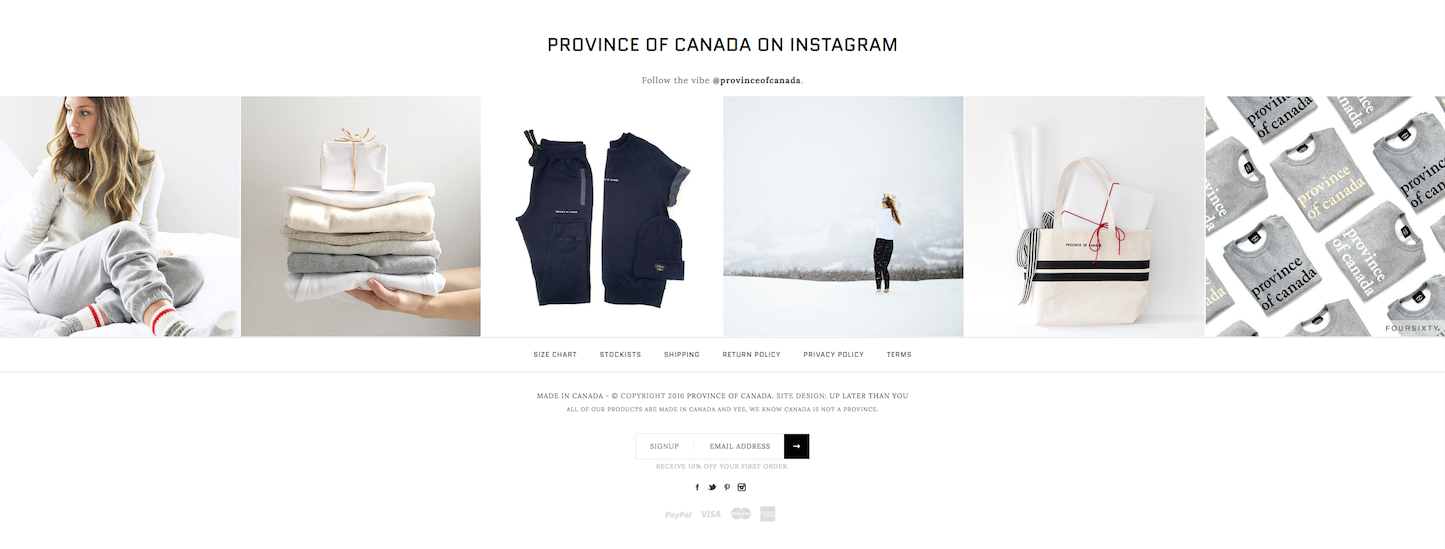 Christmas-themed ecommerce website: Province of Canada by Up Later Than You