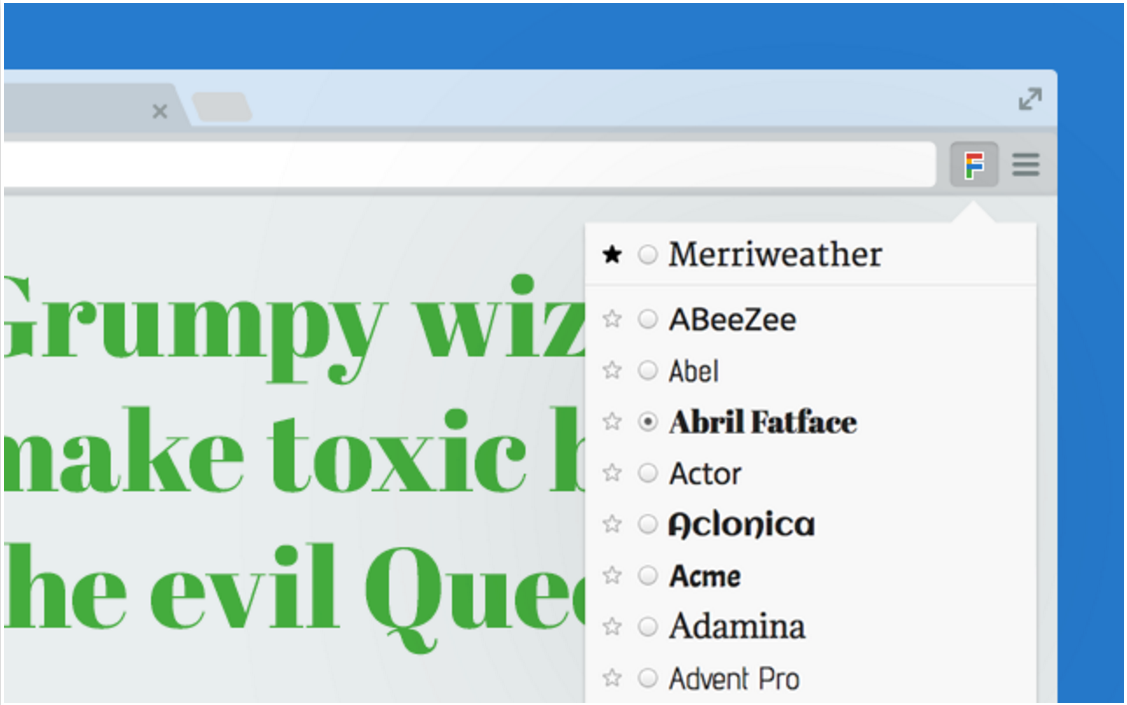 Chrome Extensions: Google Font Previewer for Chrome