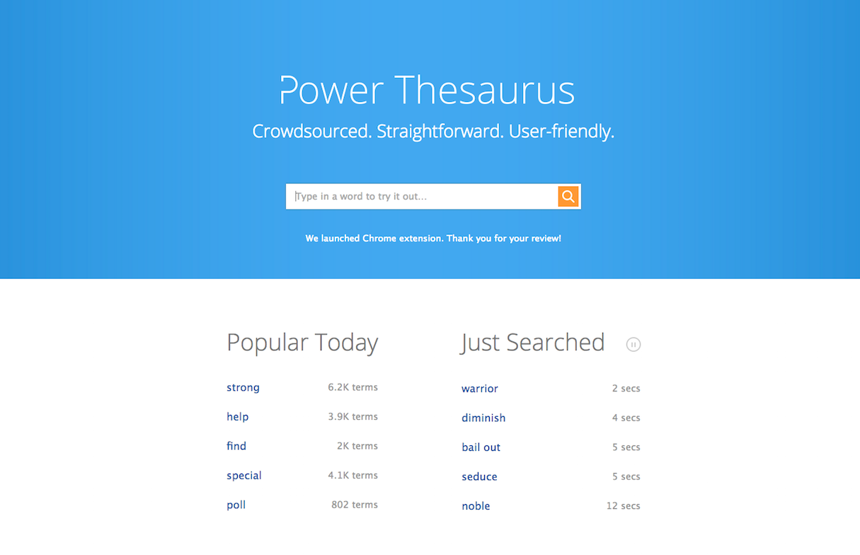 Chrome Extensions: Power Thesaurus