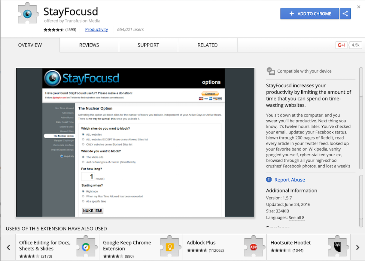 Chrome Extensions: StayFocusd