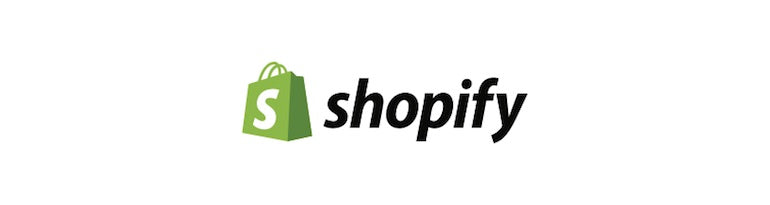 Shopify logo with green shopping bag and company name