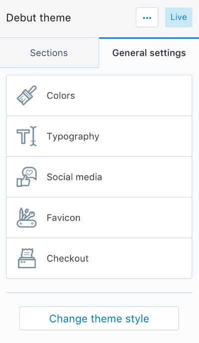 Color schemes with theme options and presets - theme options panel