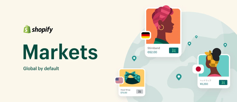 Shopify Markets logo with three illustrations of a head wrap for sale in Germany, Japan, and the United States with different currencies and images for each ad.