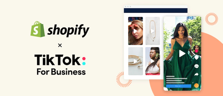 Shopify x Tiktok for business – ads on Tiktok for clothing and accessories layered over a background with geometric shapes.