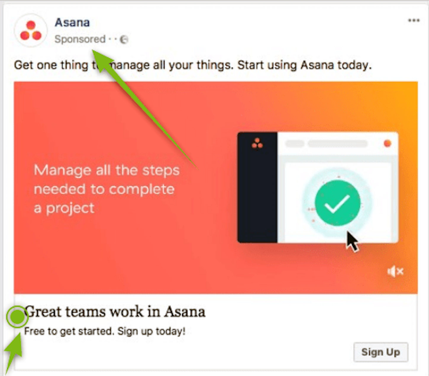 content marketing funnel: asana ad