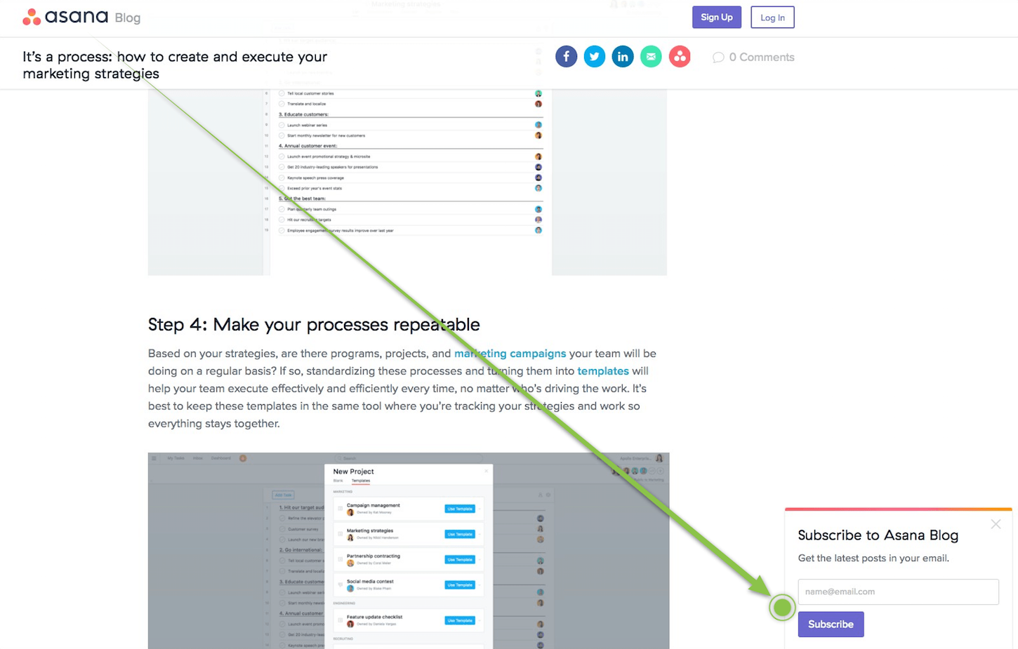 content marketing funnel: asana