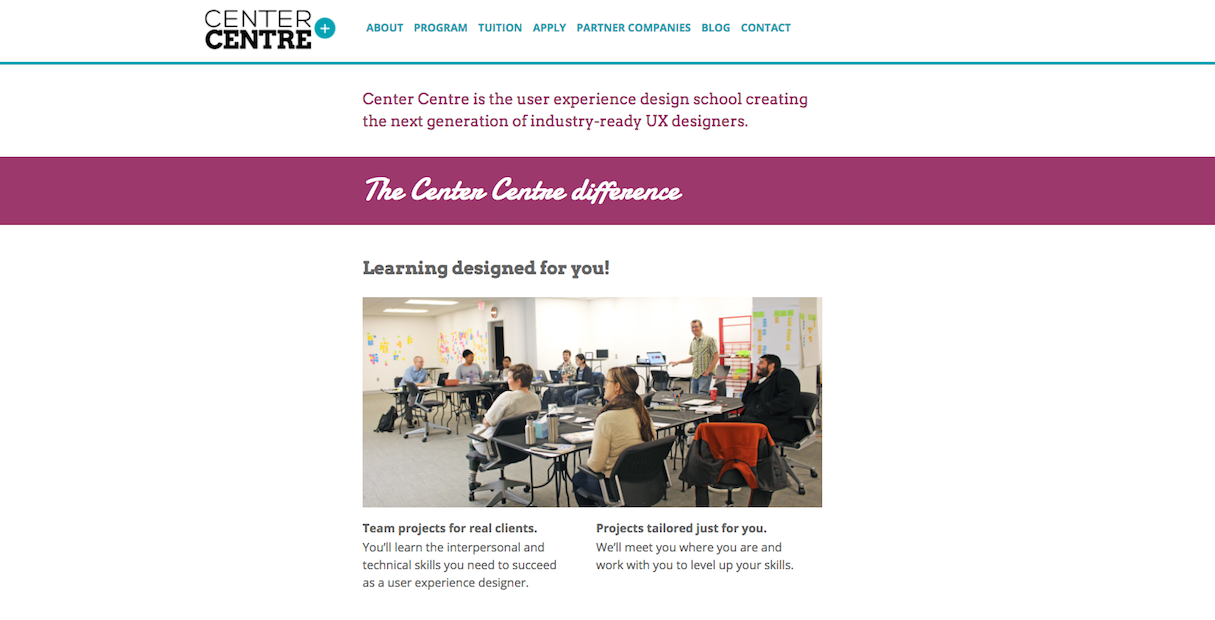 Continual learning in web design and development: Center Centre