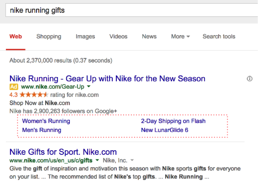 How to Create PPC Campaigns For Your Client's Holiday Shopify Stores: Nike Site Links