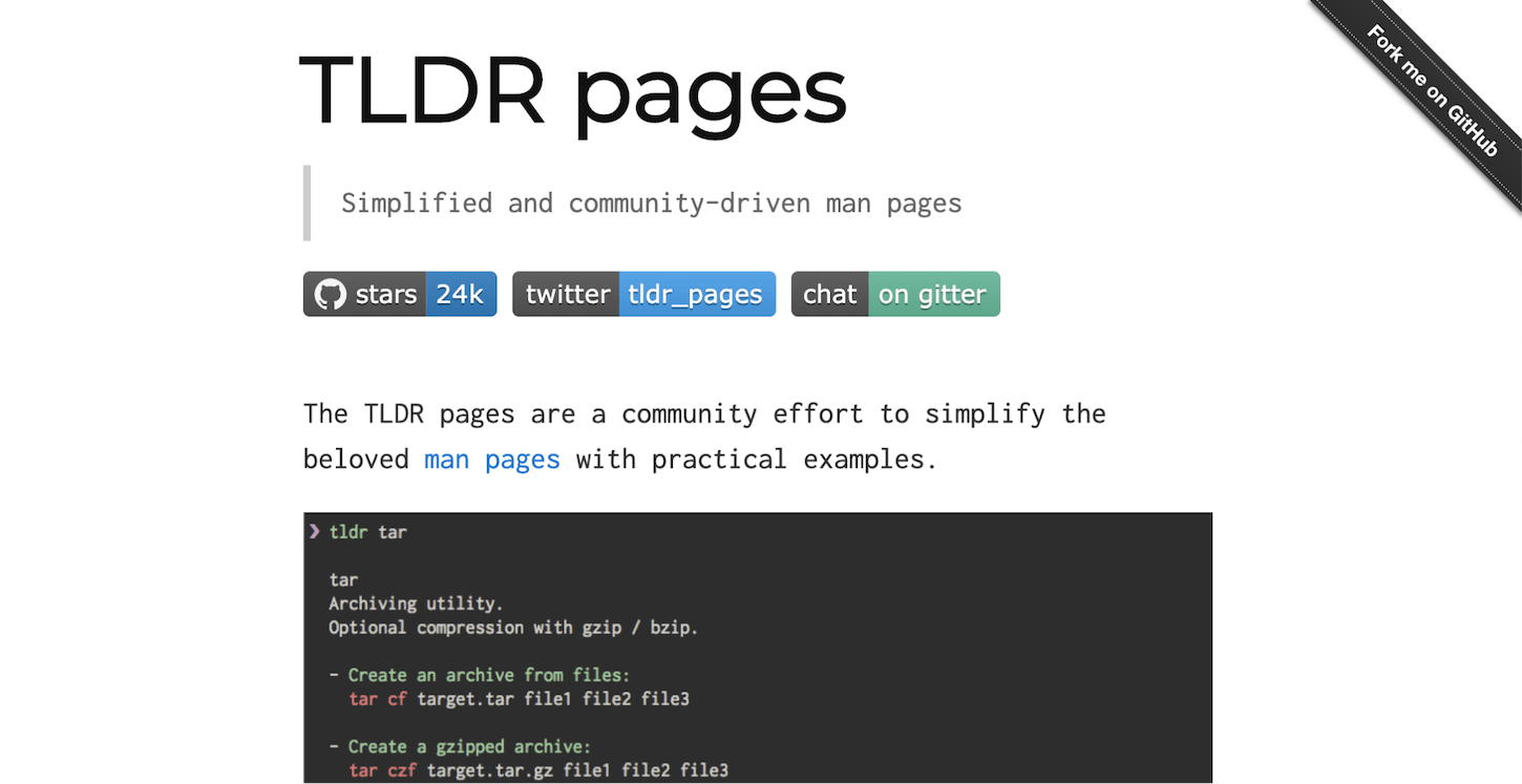 customize terminal: tldr pages