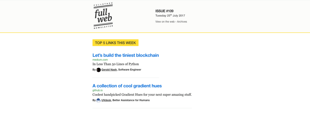 developer newsletter: fullweb