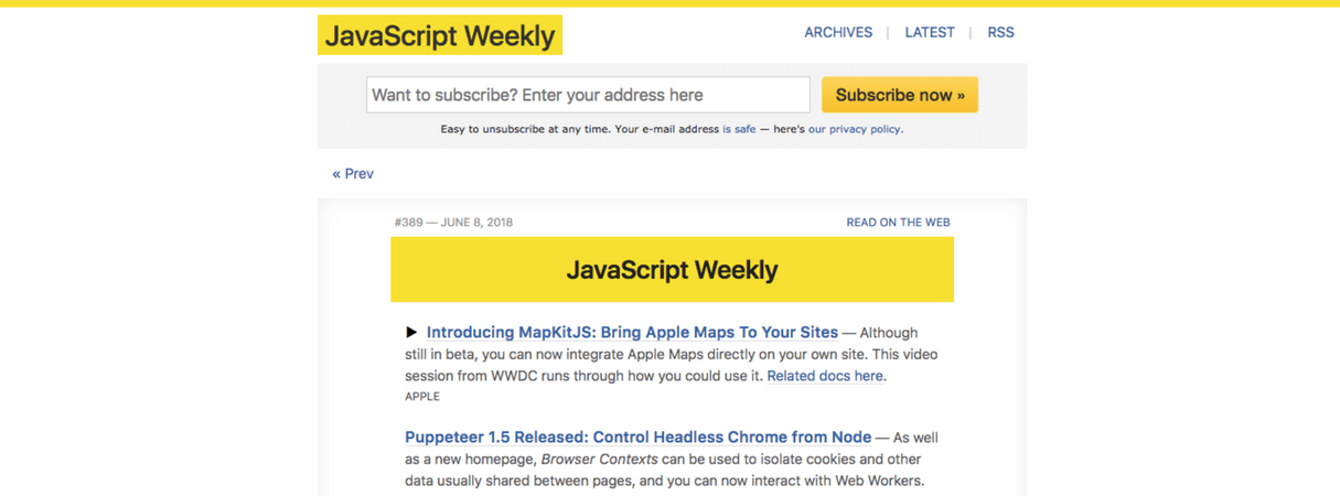 developer newsletter: javascript