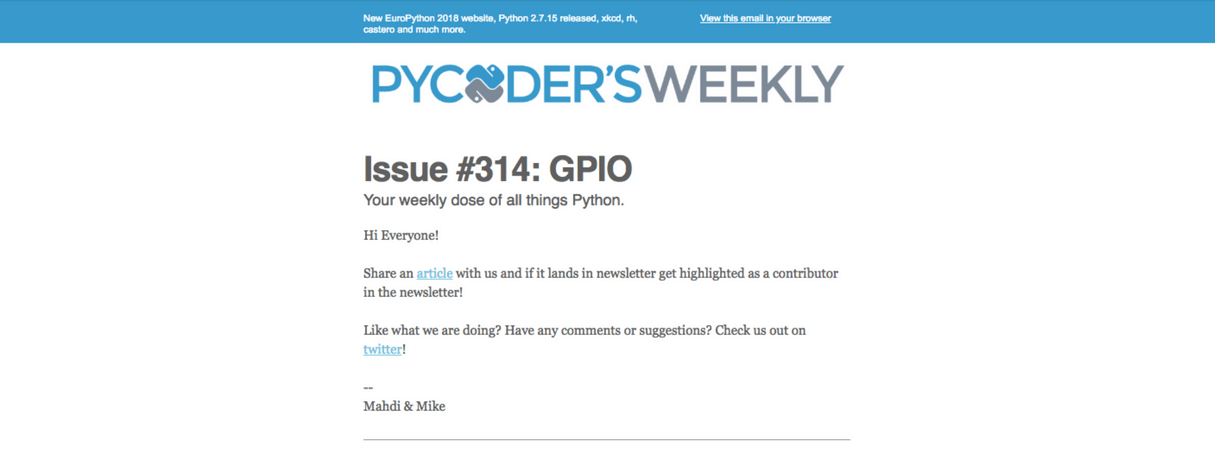 developer newsletter: pycoders