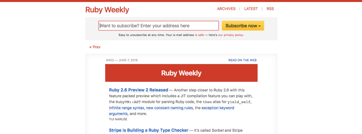 developer newsletter: ruby