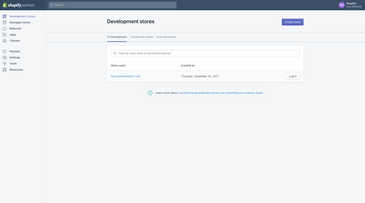 development stores: dashboard