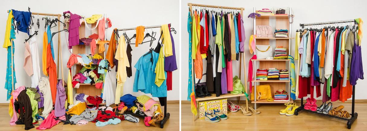 On the left: a very cluttered mess of colorful clothes and shoes on racks and on the floor. On the right: the same clothes and shoes neatly hung and stacked in the racks.