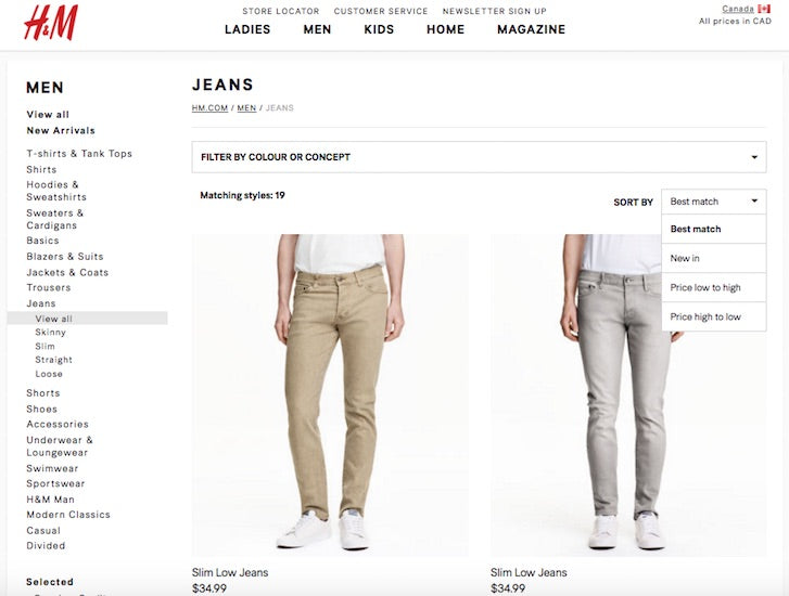 Desiging Ecommerce Site that Converts: H&M