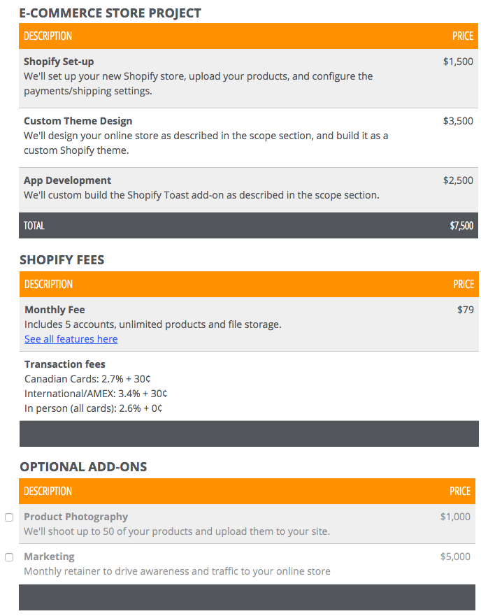 Ecommerce Proposal Guide: Pricing