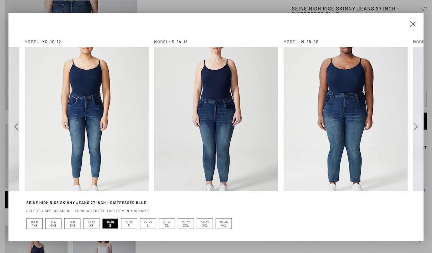 ecommerce trends: Universal Standard See it in Your Size tool
