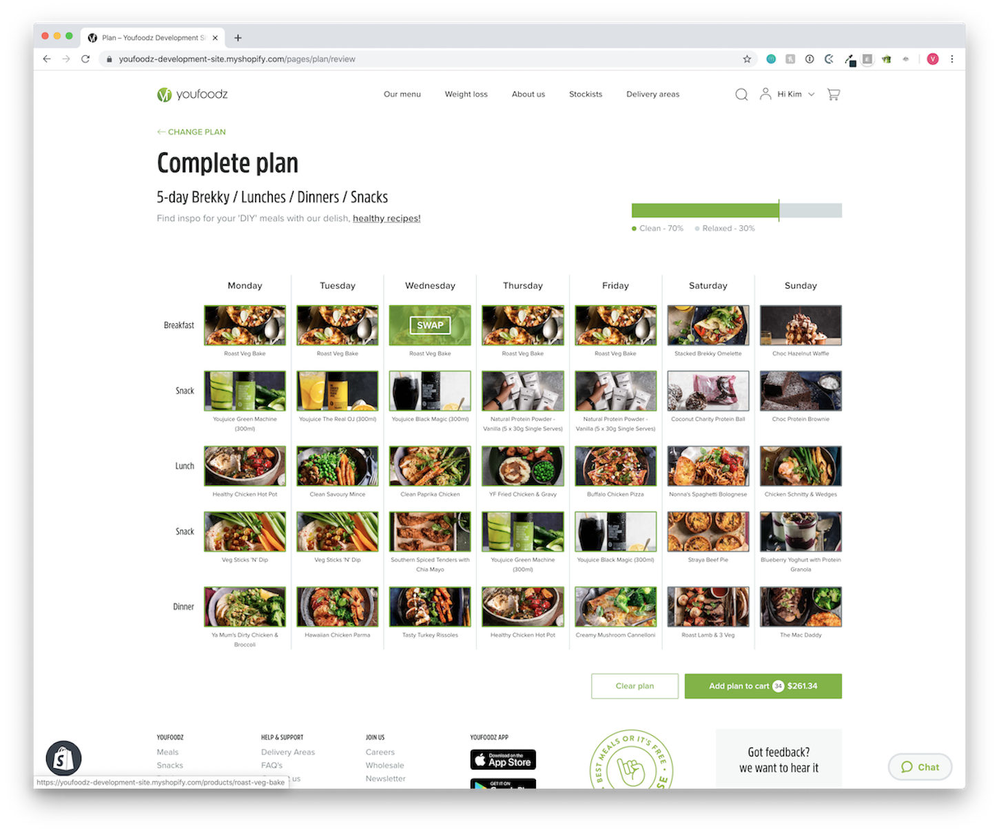 Ecommerce trends: Youfoodz webpage displaying bespoke interface