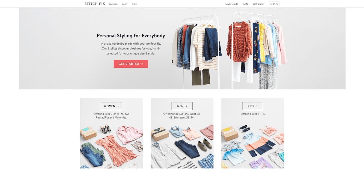 ecommerce user centered design: stitch fix