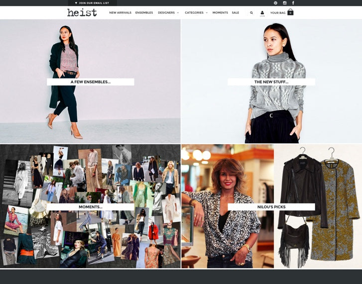 Fashion ecommerce website design: Heist