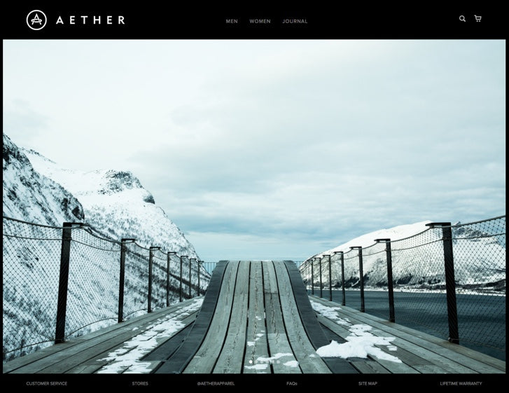 fashion ecommerce website designs: Aether Apparel