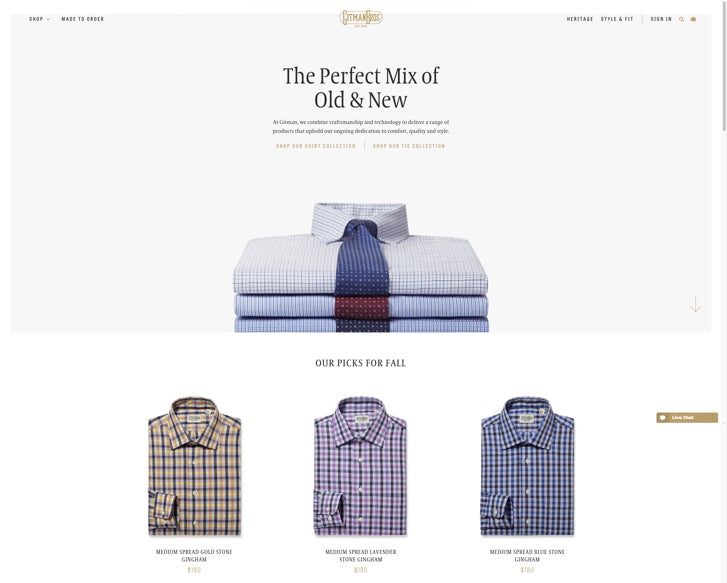 Fashion ecommerce website design: Gitman Bros