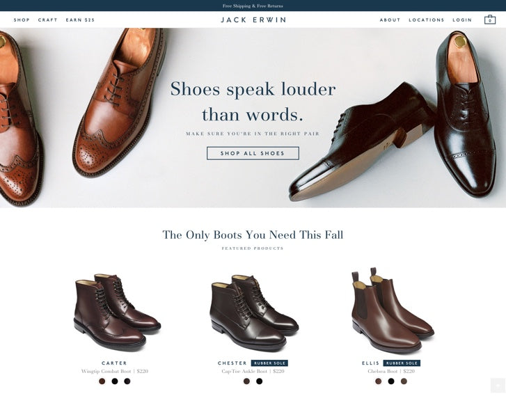 Fashion ecommerce website design-  Jack Erwin