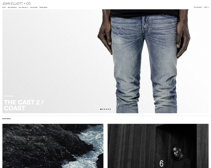 Fashion ecommerce website design: John Elliott + Co.